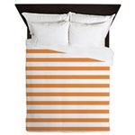 Orange White Horizontal Stripes Queen Duvet