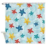 Starfish in Swirly Ocean Shower Curtain