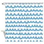 Whimsical Ocean Waves Shower Curtain