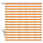 Orange White Horizontal Stripes Shower Curtain