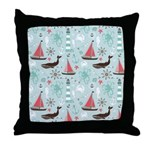 Nautical Ocean Blue and Rose Throw Pillow