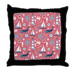 Nautical Ocean Rose Throw Pillow