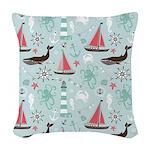 Nautical Ocean Blue and Rose Woven Throw Pillow