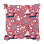 Nautical Ocean Rose Woven Throw Pillow