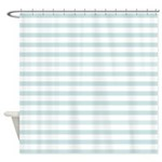 Light Blue Horizontal Stripe Shower Curtain