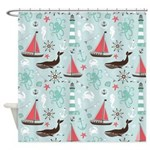 Nautical Ocean Blue and Rose Shower Curtain