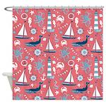 Nautical Ocean Rose Shower Curtain