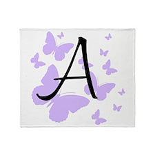 A Monogram with Purple Butterflies Throw Blanket
