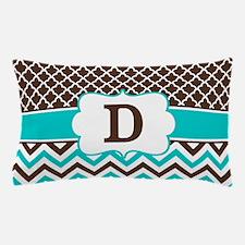 Brown Teal Quatrefoil Monogram Pillow Case