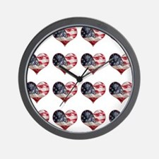 red white blue hearts art Wall Clock