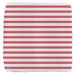 Rose White Horizontal Stripe Cube Ottoman