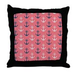 Ship Anchors on Rose Throw Pillow