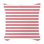 Rose White Horizontal Stripe Woven Throw Pillow