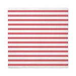 Rose White Horizontal Stripe Queen Duvet