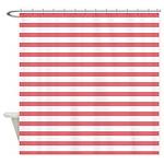 Rose White Horizontal Stripe Shower Curtain