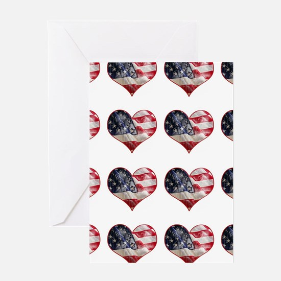 red white blue hearts art Greeting Cards
