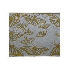 Golden Butterfly Throw Blanket