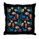 Silly Ocean Creatures Throw Pillow