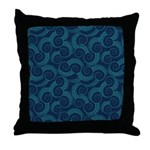 Swirly Ocean Waves Throw Pillow