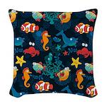 Silly Ocean Creatures Woven Throw Pillow
