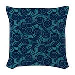 Swirly Ocean Waves Woven Throw Pillow