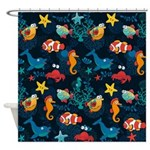 Silly Ocean Creatures Shower Curtain