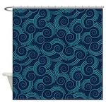 Swirly Ocean Waves Shower Curtain