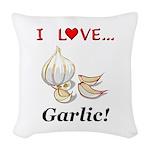 I Love Garlic Woven Throw Pillow