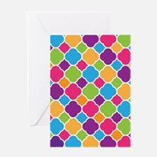 Rainbow Quatrefoil Pattern Greeting Cards