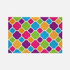 Rainbow Quatrefoil Pattern Magnets
