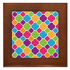 Rainbow Quatrefoil Pattern Framed Tile