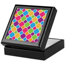 Rainbow Quatrefoil Pattern Keepsake Box