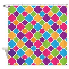 Rainbow Quatrefoil Pattern Shower Curtain