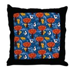 Whimsical Cats and Birds Throw Pillow