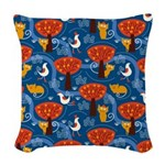 Whimsical Cats and Birds Woven Throw Pillow