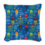 Jellyfish and Octopus Woven Throw Pillow