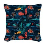 Colorful Fish in Ocean Woven Throw Pillow