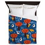 Whimsical Cats and Birds Queen Duvet