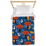 Whimsical Cats and Birds Twin Duvet