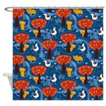 Whimsical Cats and Birds Shower Curtain
