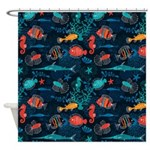 Colorful Fish in Ocean Shower Curtain