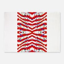 red white blue stripes 5'x7'Area Rug
