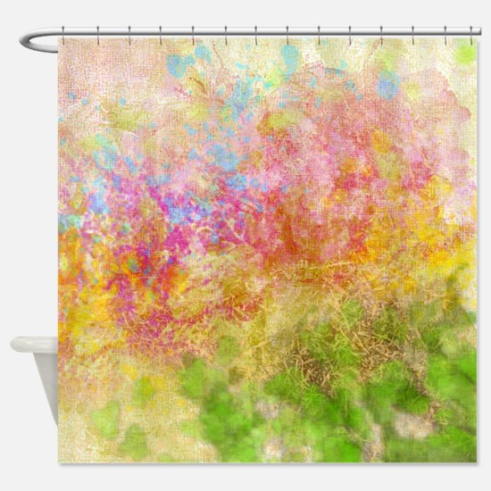 Soft Floral Abstract Design Shower Curtain