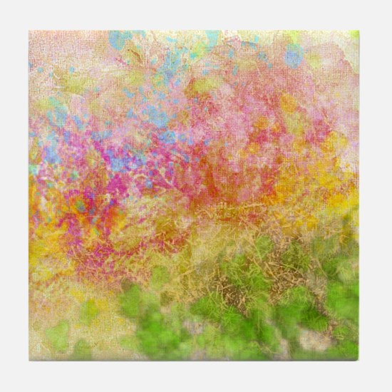 Soft Floral Abstract Design Tile Coaster