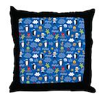 Penguins and Sailors Throw Pillow