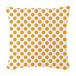 Big Orange Dots on White Woven Throw Pillow