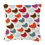 Cheerful Birds Woven Throw Pillow