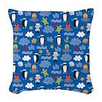 Penguins and Sailors Woven Throw Pillow