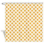 Big Orange Dots on White Shower Curtain