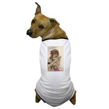 Vintage French Victorian Woman & White Dog Dog T-S